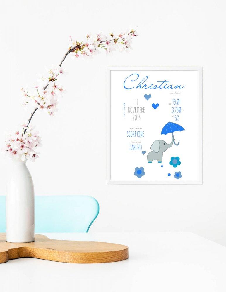 Stampa quadretto per bambini, stampa cameretta bambini, stampa ricordo di nascita, stampa animali, poster ricordo nascita,  idea regalo bambini, regalo nascita