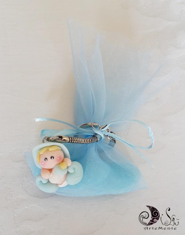 bomboniere battesimo portachiavi folletto bebè complete