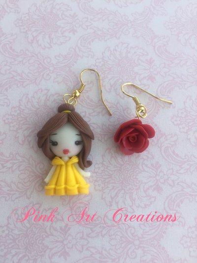 Pendenti bimba con Belle e la rosa rossa