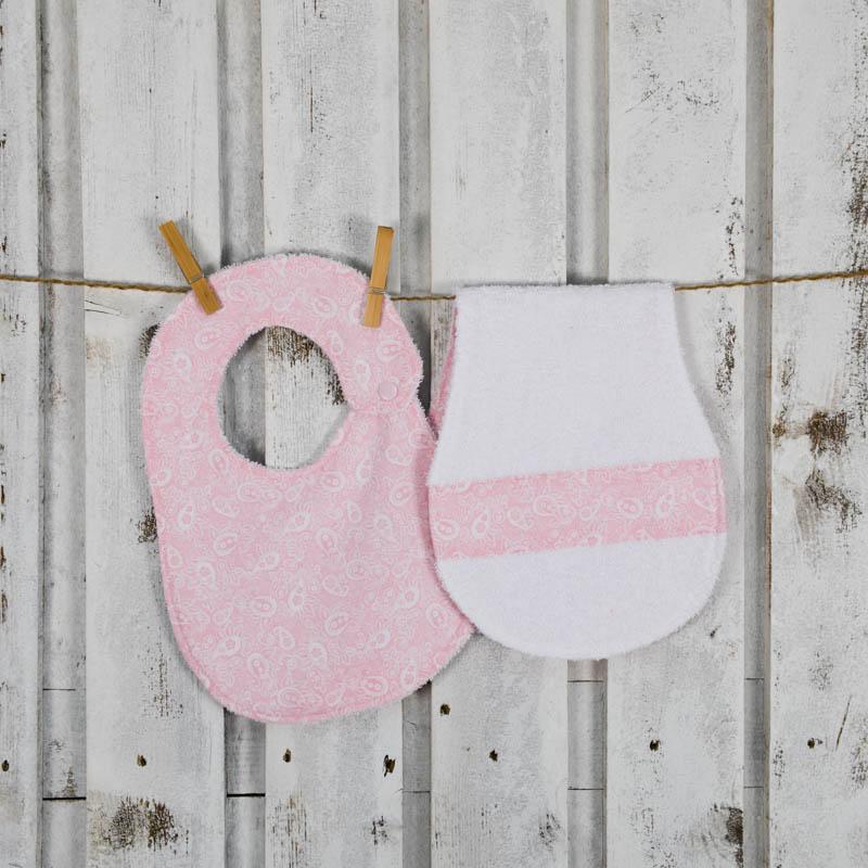 bavaglino rosa per neonati con salvietta salvaspallla per ruttino