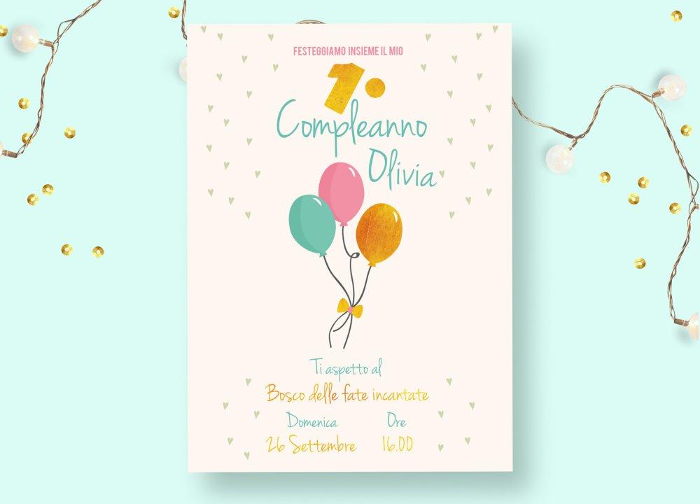 Invito Digitale 1 Compleanno Con Palloncini