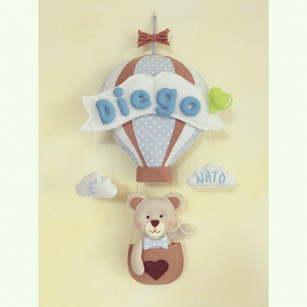 Fiocco nascita mongolfiera con orsetto