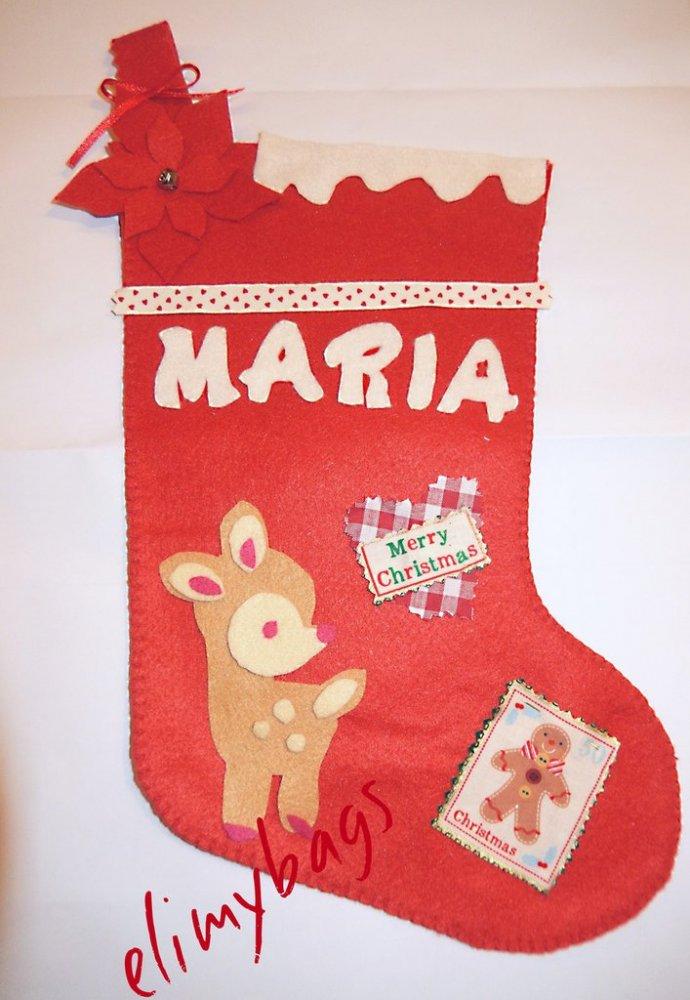 Calza della Befana personalizzata con nome da riempire per bambina con cerbiatto