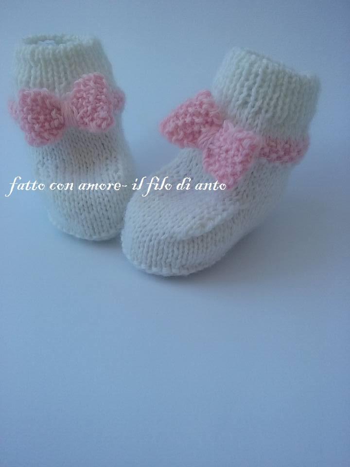 Scarpine stivaletto lana alpaca 100%  bianca con fiocco rosa