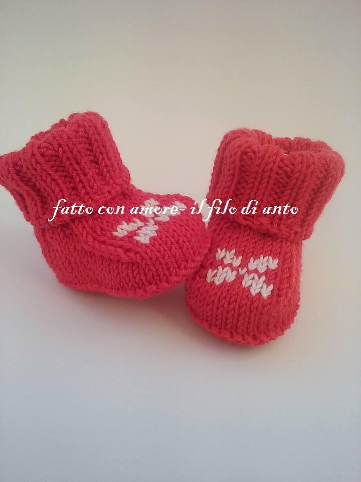 Scarpine stivaletto bambino rosse in lana merinos