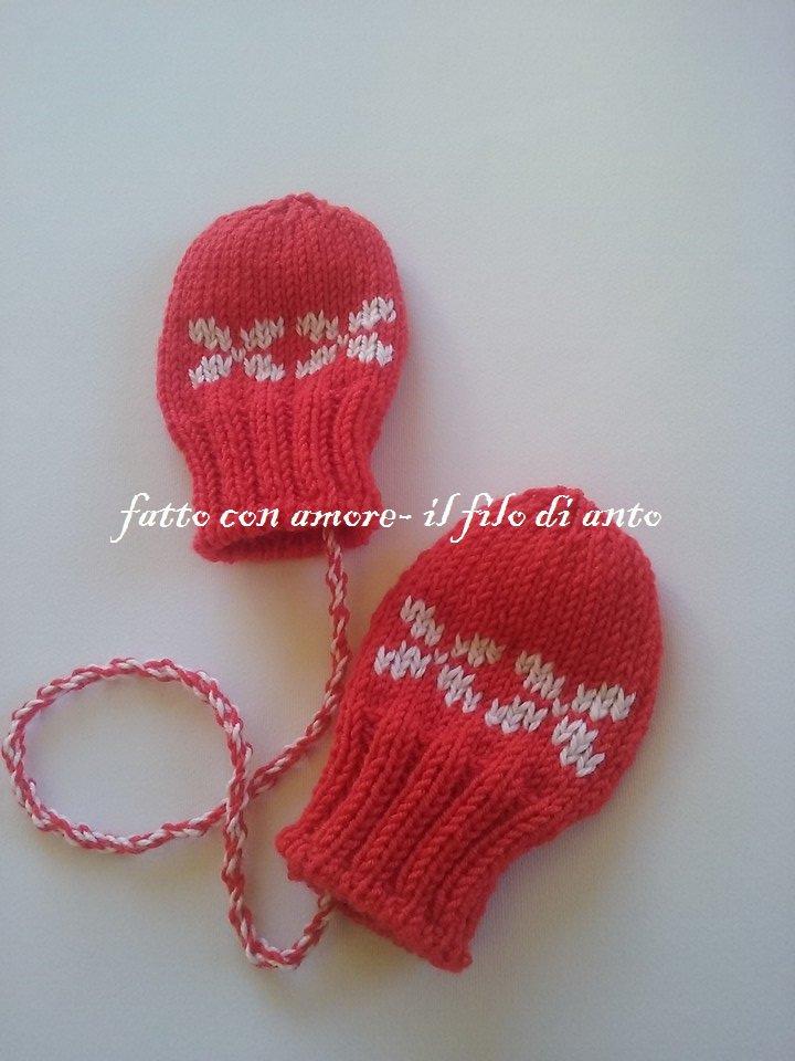 Guanti muffole bambino in lana merinos con disegni jaquard