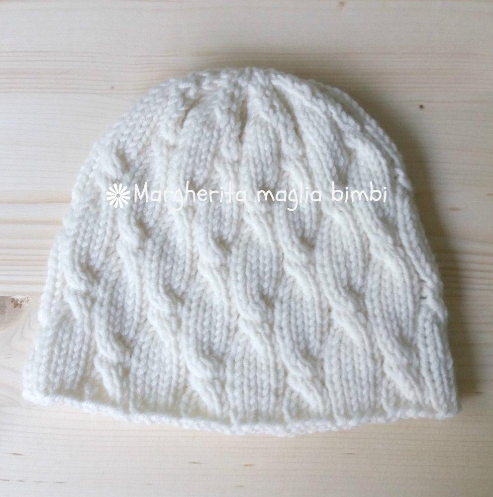 Berretto/cappello bambino/bambina bianco con trecce - lana merino - lavorato a maglia