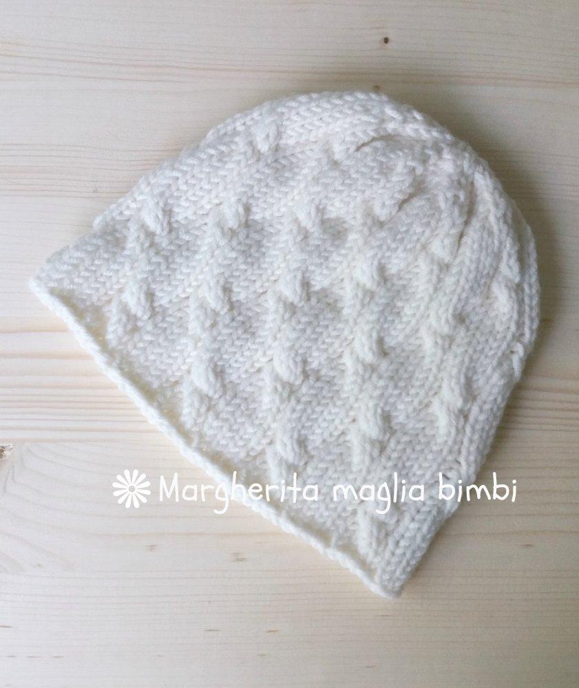 Berretto/cappello donna/ragazza bianco con trecce - lana merino - lavorato a maglia