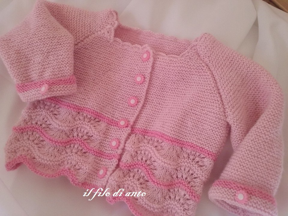 Maglia / cardigan /  bambina in pura lana merinos  baby rosa e fucsia