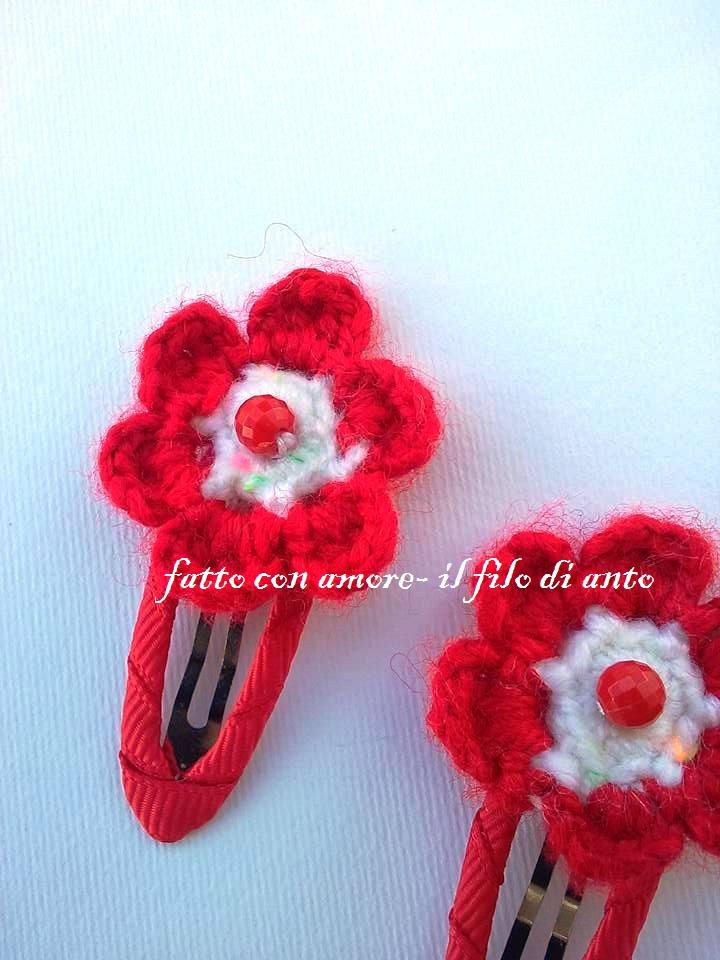Coppia fermaglio bambina con fiore rosso