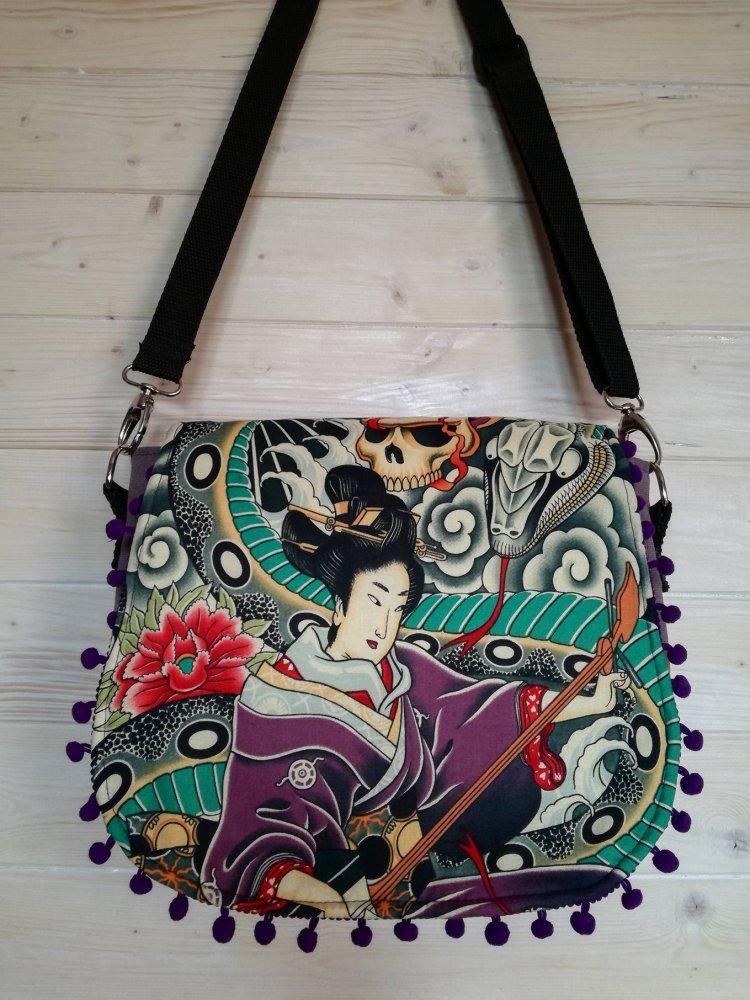 Borsa / zaino fantasia geisha viola