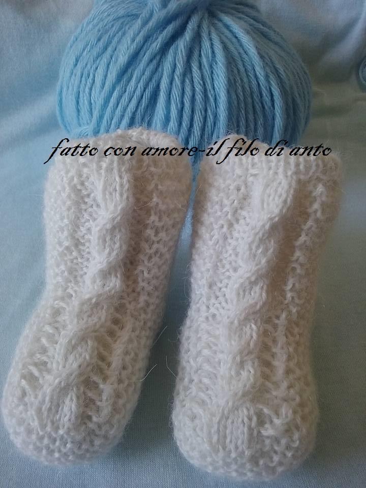 Stivaletti bianchi con treccia in pura lana alpaca