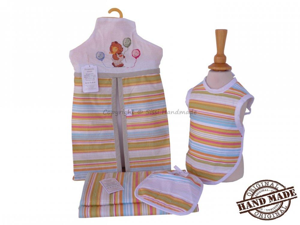 Coordinato nascita con tessuto 100% cotone multicolore, 4 pezzi