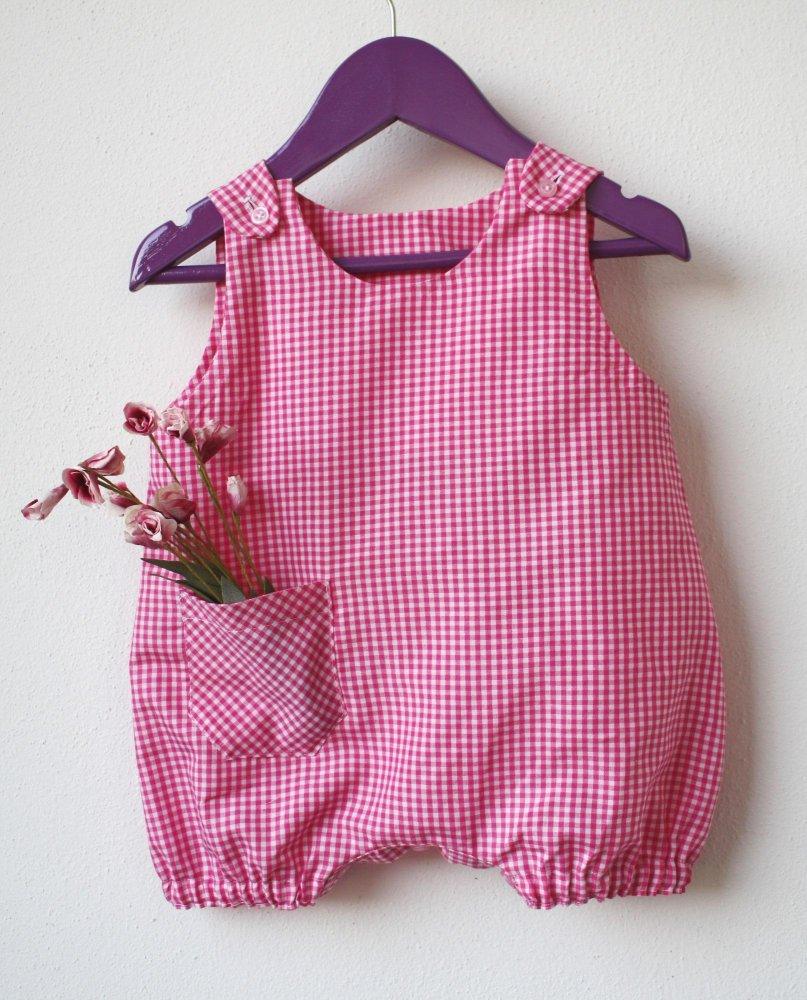 tutina pagliaccetto di cotone - tutina cotone a quadretti - pagliaccetto neonato