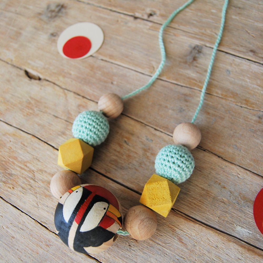 SPECIAL PRICE: collana da allattamento tucani in legno e cotone | Idea regalo nascita