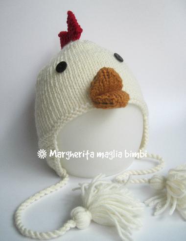 Berretto/cappello galletto con paraorecchie - lana merino - bambino - fatto a mano - maglia
