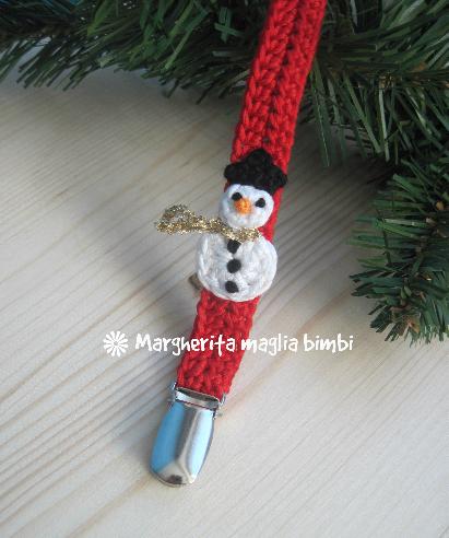 Portaciuccio pupazzo di neve,  neonato/bambino, idea regalo Natale, cotone, uncinetto