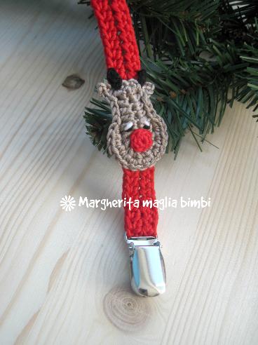 Portaciuccio renna, neonato/bambino, idea regalo Natale, cotone, uncinetto, fatto a mano
