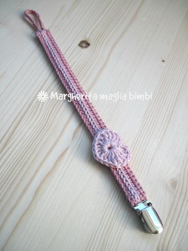 Portaciuccio neonata/bambina, cuore rosa, fatto a mano,  idea regalo, cotone, uncinetto