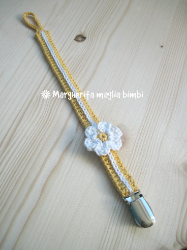 Portaciuccio neonata/bambina, fiore bianco/giallo, fatto a mano, idea regalo, cotone, uncinetto