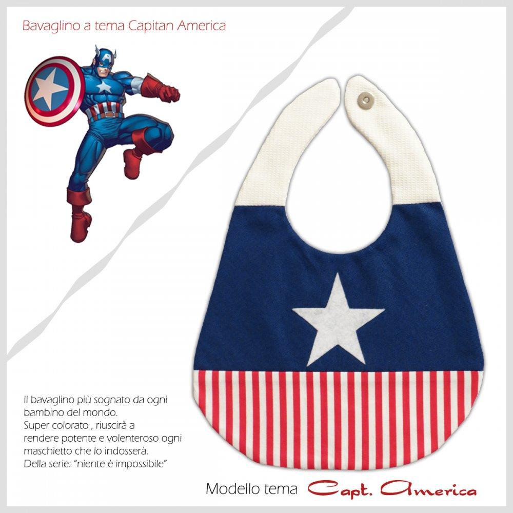 Bavaglino Baby Bib Capitan America Collezione Supereroi Superheroes