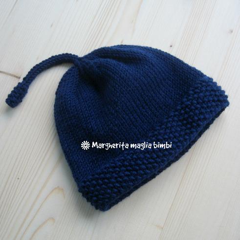Berretto/cappello neonato/bambino  - pura lana merino blu scuro- fatto a mano