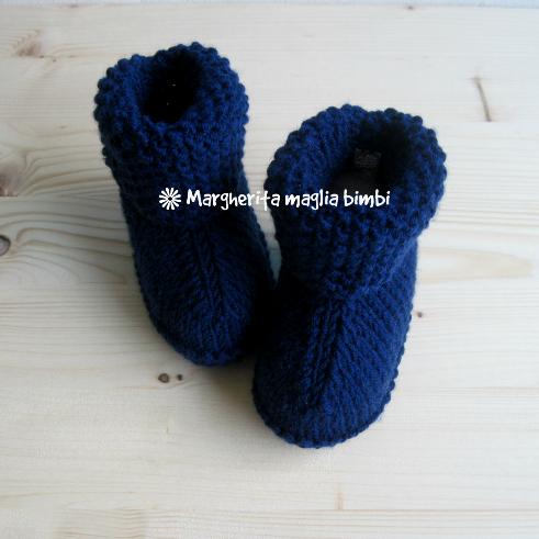 Scarpine/stivaletti neonato/bambino  - pura lana merino blu scuro- fatto a mano