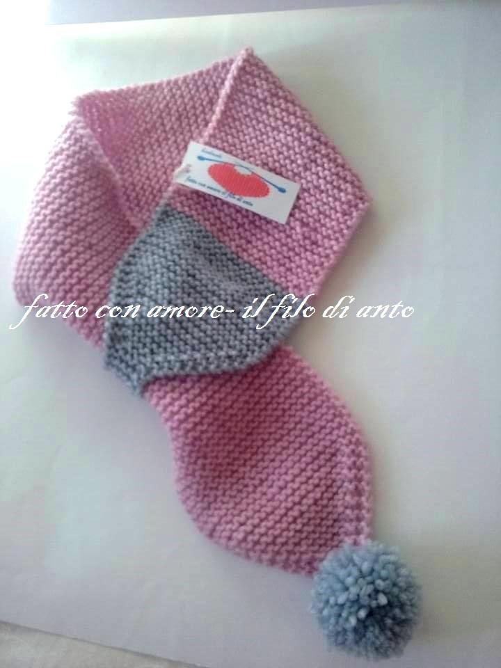 Sciarpa bambina in pura lana 100% rosa e grigia