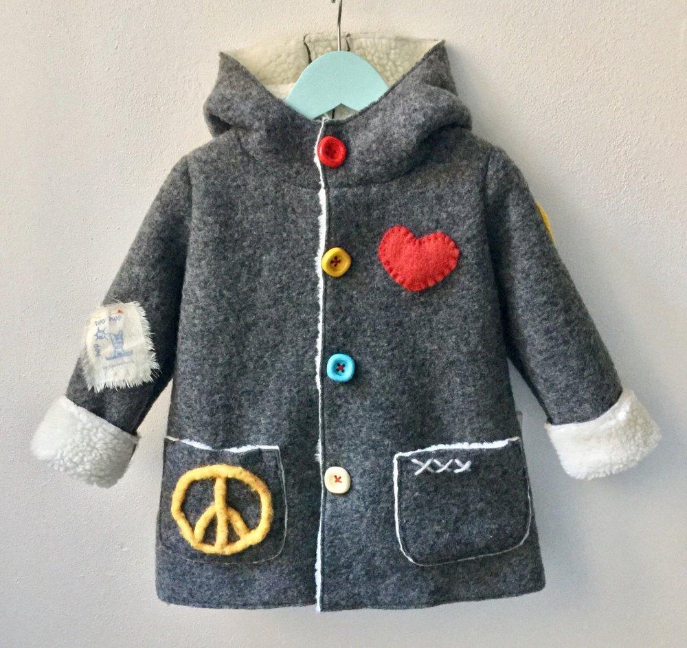 Ghiaccone bambino - giacchettino Peace & Love - cappotto bambino - cappottino bimba