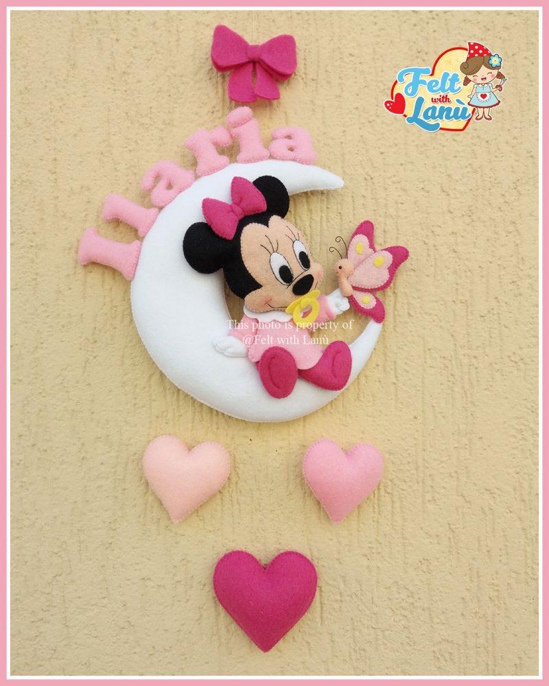 Fiocco nascita : Baby Minnie con Farfallina