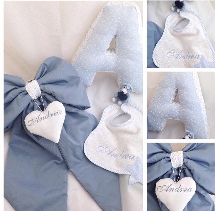 Set -Fiocco nascita, cuscino lettera, bavaglino.