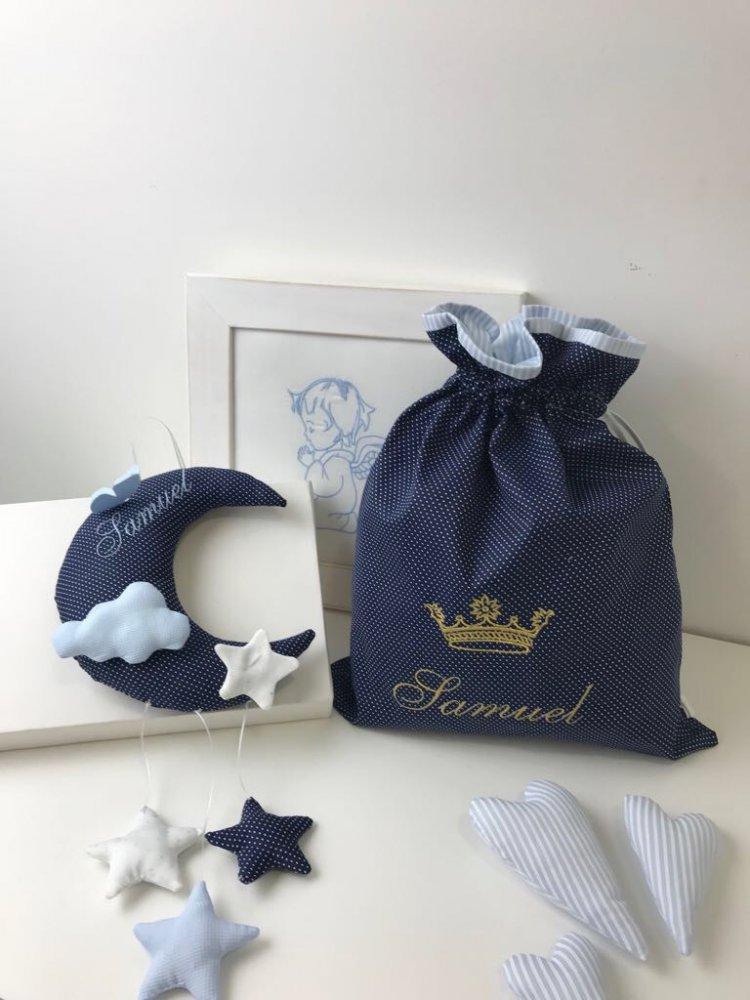 Set fiocco nascita e sacchetto biancheria