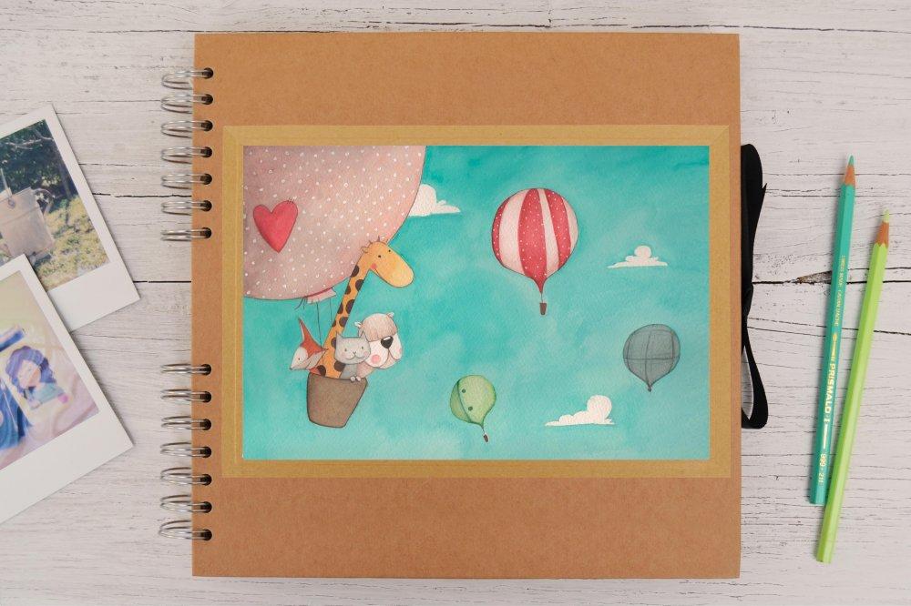 Album fotografico con illustrazione personalizzata, disegno originale a tempera, ritratto di te o del tuo bambino