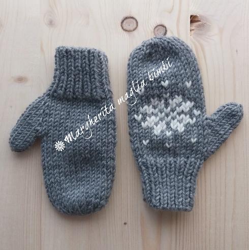 Guanti/manopole bambino/bambina ricamo fiocco di neve - fatti a maglia - pura lana