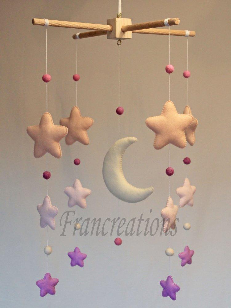 Giostrina culla - Baby mobile pannolenci - Baby mobile feltro - Baby mobile - Giostrina stelle - Giostrina Luna - Carillon - Decorazione cameretta - Decorazione culla