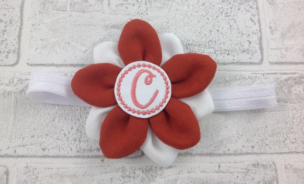 Fascia elastica per capelli Fiore Arancio personalizzata con l'iniziale del nome - Bimba Neonata