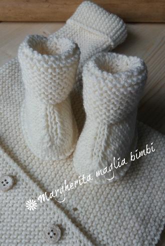 Scarpine/stivaletti  neonato/bambino -  bianco panna - pura lana merino - fatto a mano