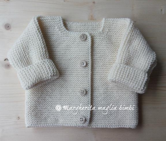 Giacchino/cardigan/maglioncino aperto neonato/bambino fatto a mano - lana merino - Battesimo