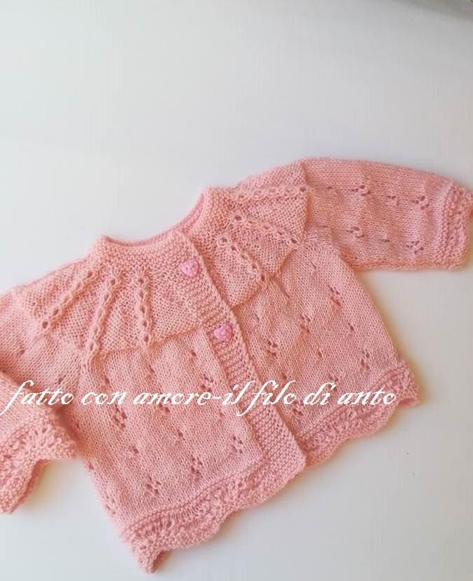 Maglia coprifascia neonata in pura lana 100%