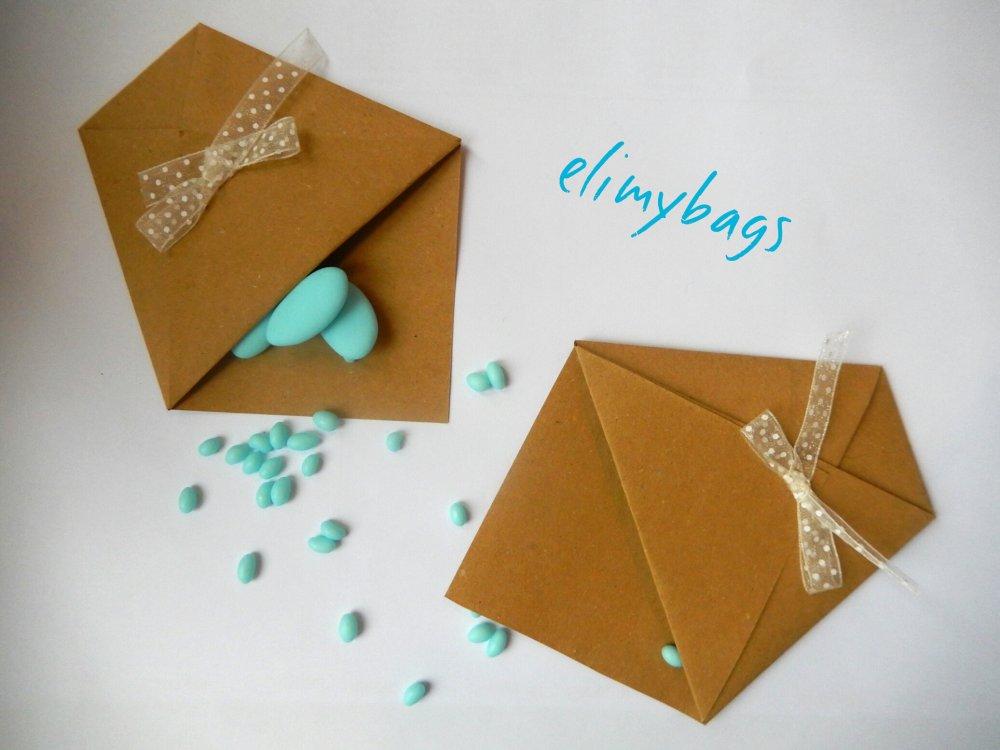 Portaconfetti marroni di carta  per confettata battesimo o comunione
