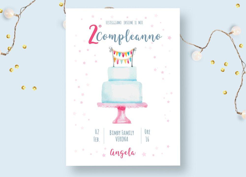 Invito  festa di compleanno con torta