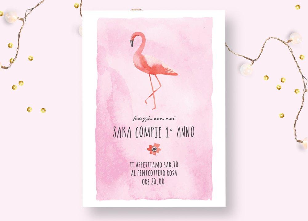Invito  festa di compleanno fenicottero rosa