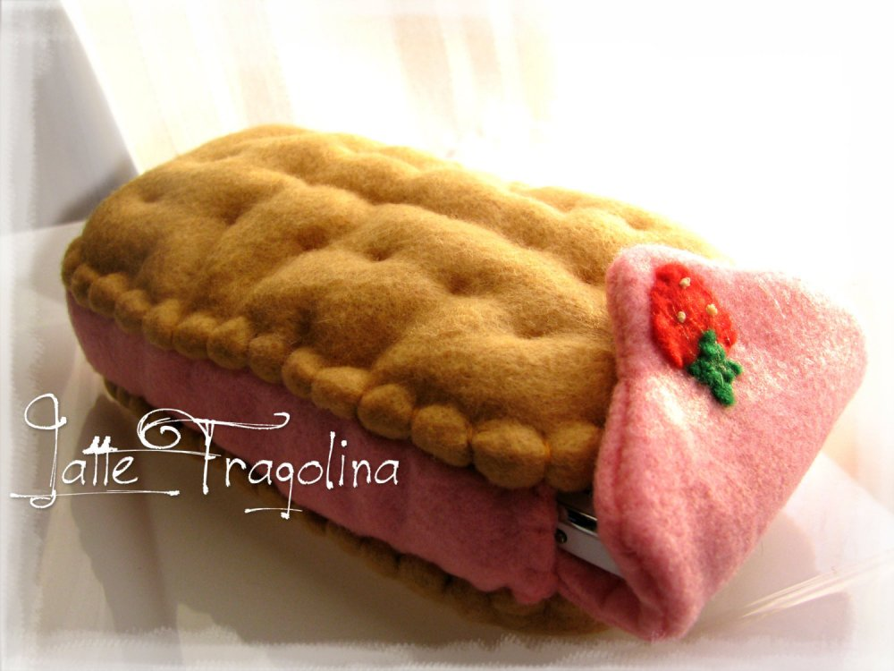 Custodia per cellulare smartphone - biscotto gelato, Gusto Fragola