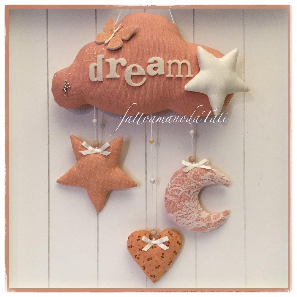 Fiocco nascita nuvola con stelle,cuore,luna e farfalla sui toni del rosa salmone