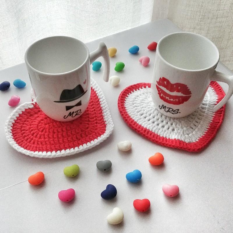 Sottotazza _Sottobicchieri_Presine  San Valentino uncinetto, cotone, Regalo Anniversario