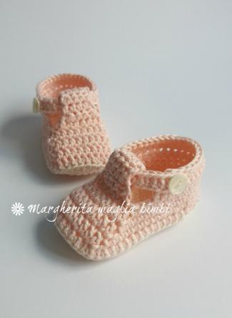 Scarpine neonato alla bebè/cotone rosa - fatte a mano - uncinetto - baby shower