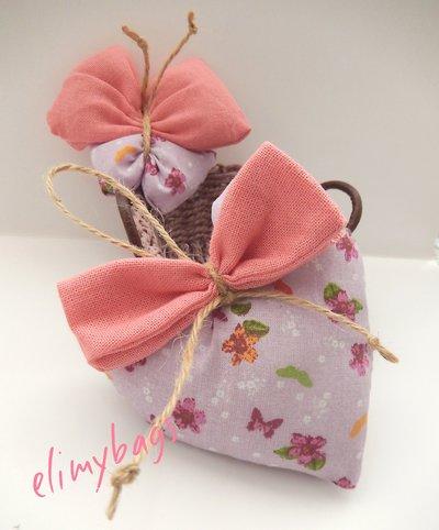 3 Profumatori rosa per cameretta alla lavanda a forma di cuore, farfalla e sacchetto