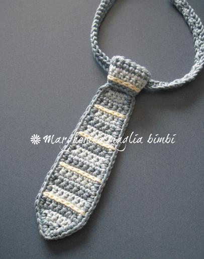 Cravatta bambino /cravattino neonato - cotone a righe - fatta a mano uncinetto - idea regalo