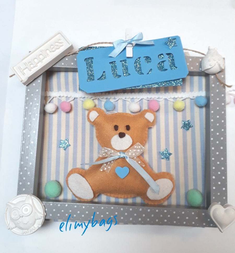 Quadro con orsetto personalizzato con nome e gessetti