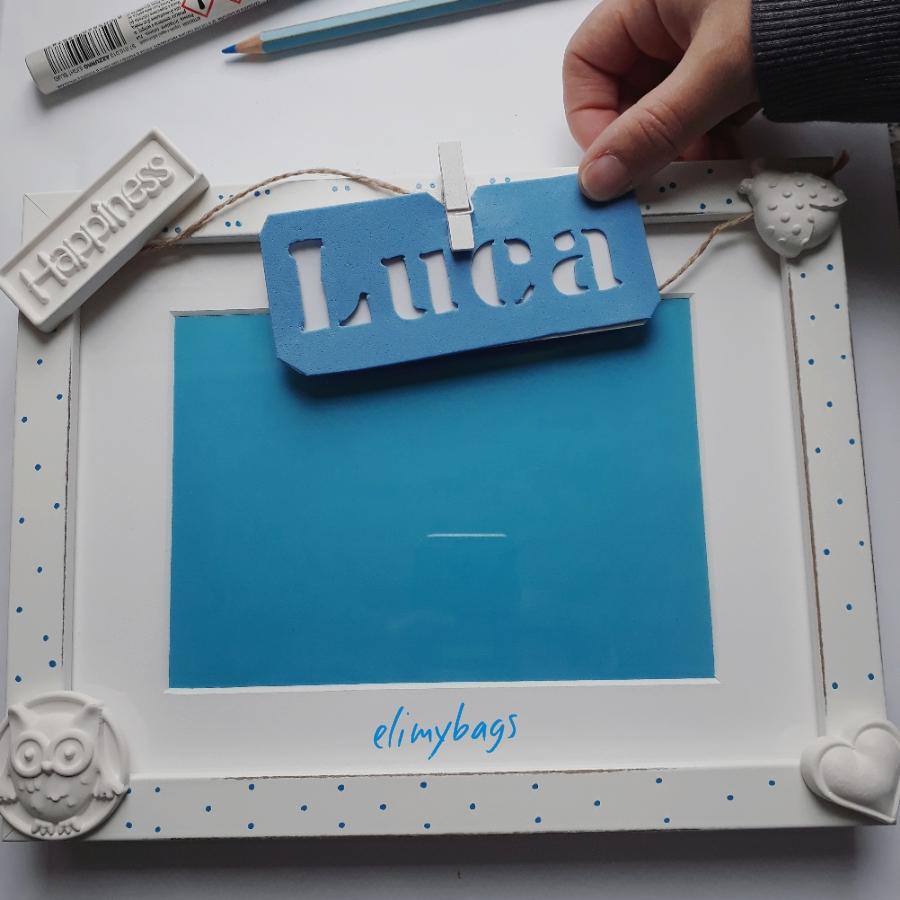 Cornice portafoto con gessetti e personalizzata con nome